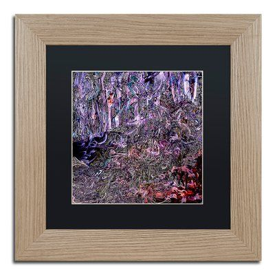 "Trademark Art 'Midnight Campsite' Framed Painting Print Mat Color: Black, Size: 11"" H x 11"" W x 0.5"" D"