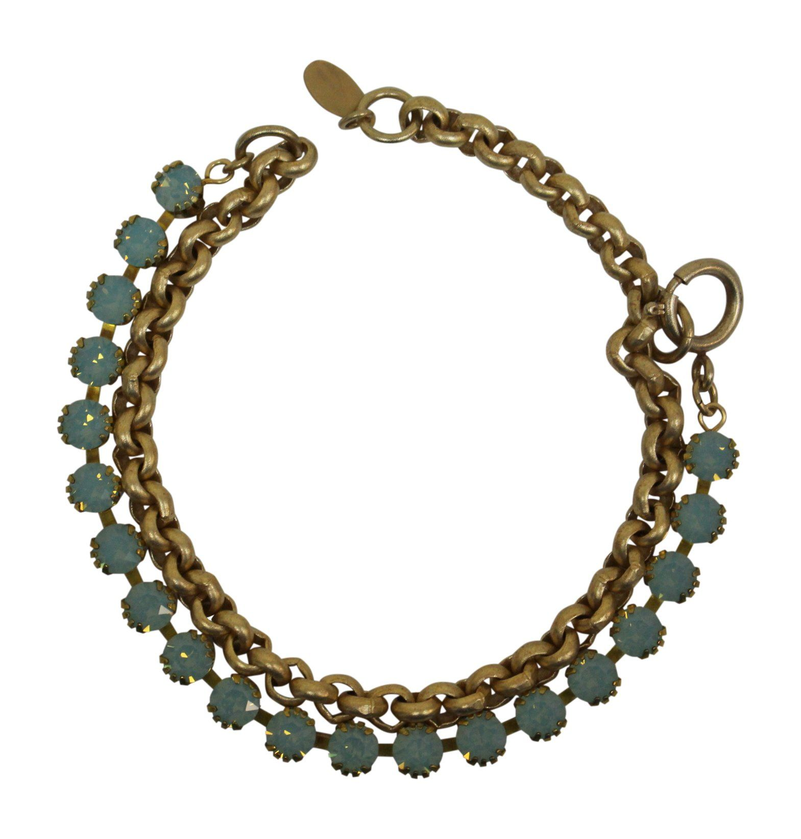 """Catherine Popesco La Vie Parisienne Goldtone Pacific Blue Swarovski Crystal Wrap Bracelet. Antiqued Goldtone Wrap Bracelet with Pacific Blue Swarovski Crystals. As a bracelet it measures approx 7"""" : The chain measures approx 14.5"""" - 16.5"""". This can be worn doubled as a bracelet or single as a choker. Hand set Swarovski Crystals - the finest Austrian crystals available. Light weight : image is enlarged to show detail : Made in France."""