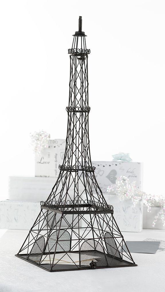 Metal Eiffel Tower Card Box Wedding