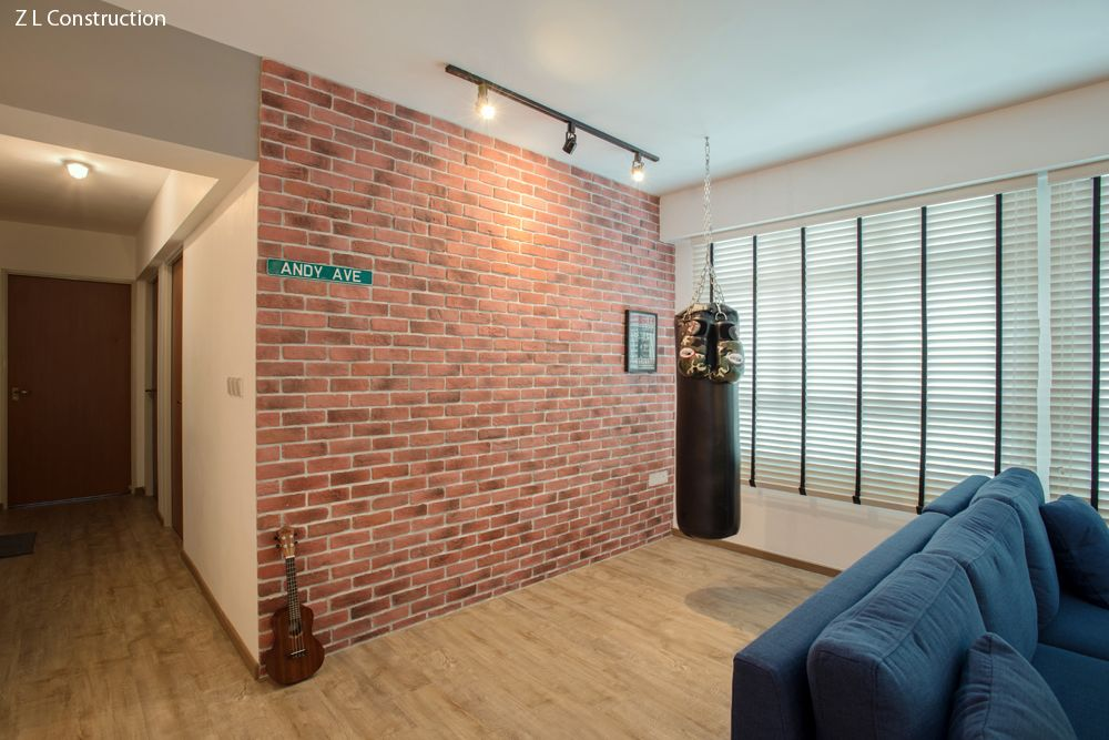 Z l construction singapore craftstone feature brick wall against a punching bag for
