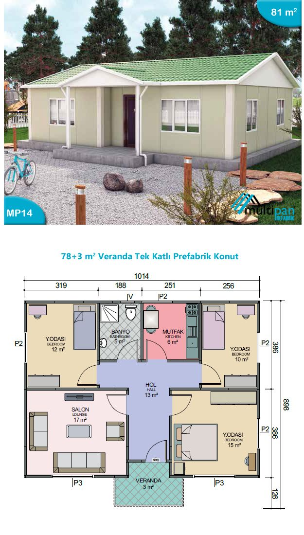 Mp14 78m2 3m2 veranda 3 bedrooms 1 bathroom 1lounge for Two bedroom hall kitchen house plans