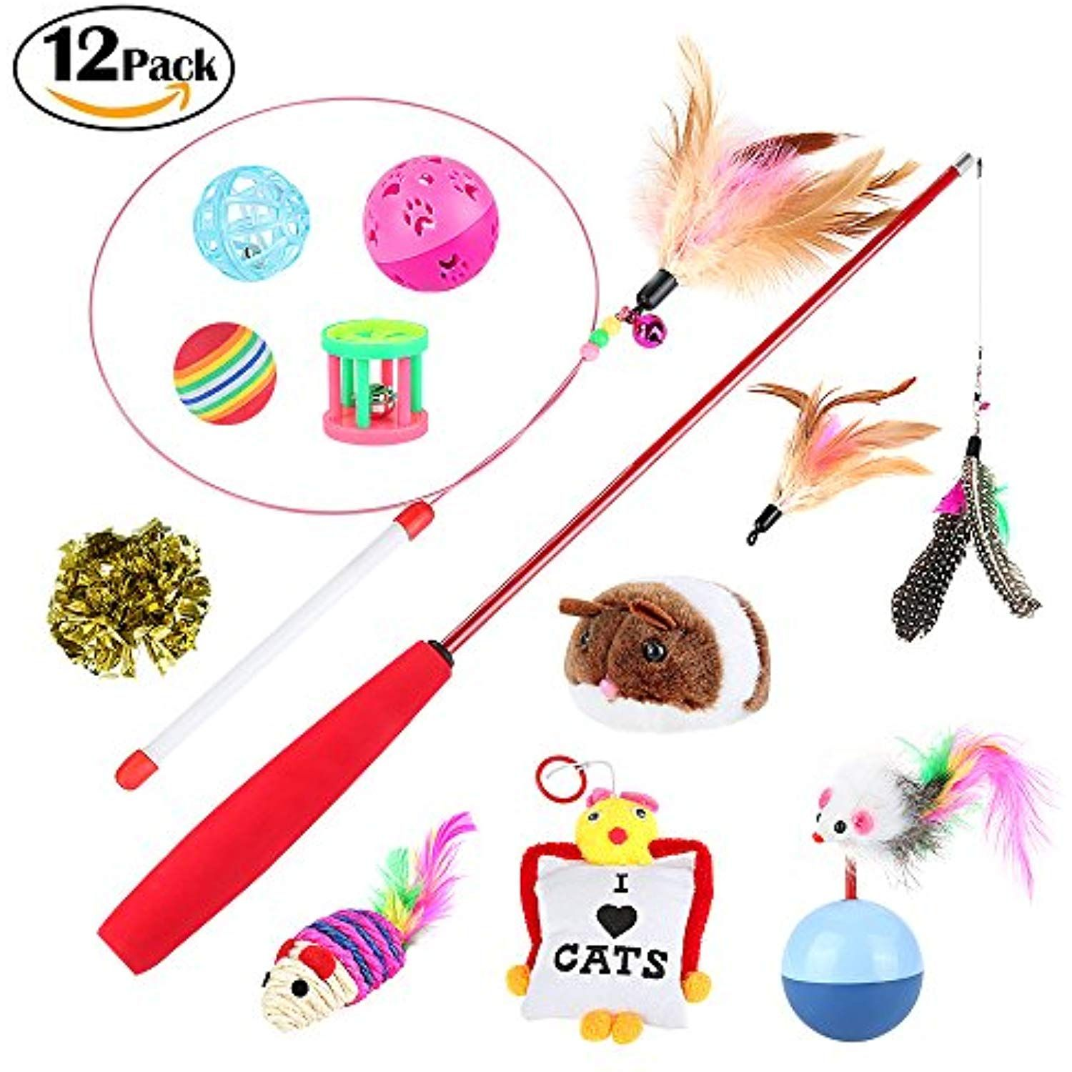 Cat Toys Variety 12 Pack Honfei Cat Toys Including Whiffle Ball