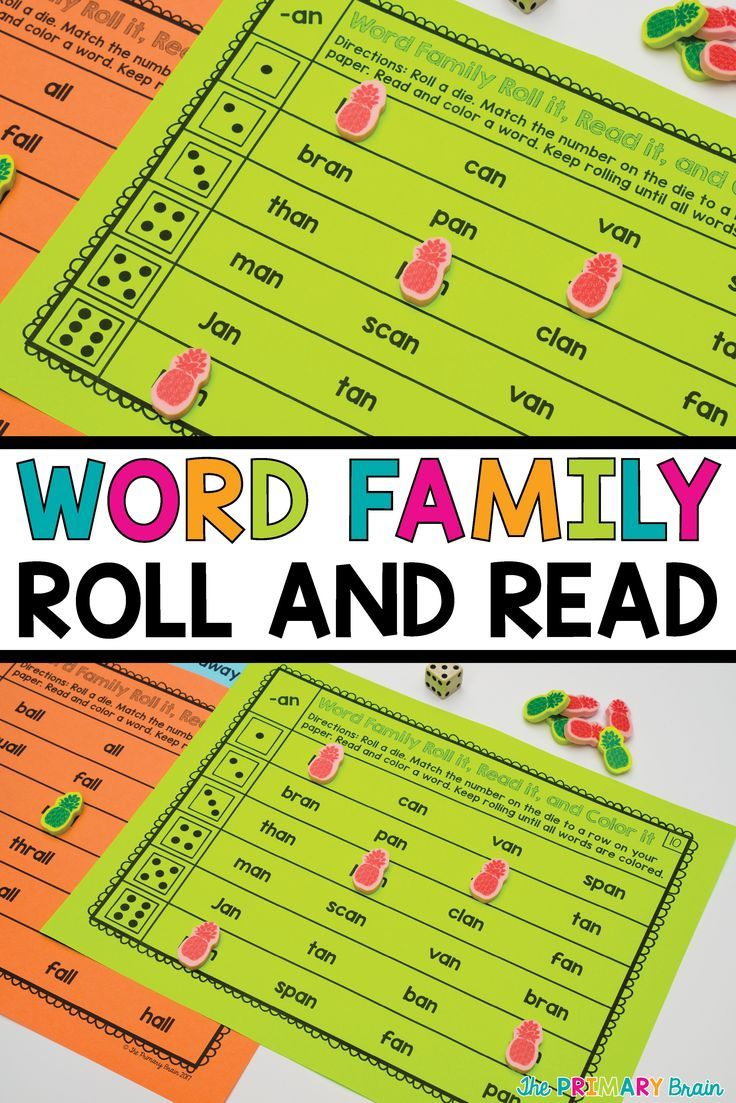 Roll It, Read It, and Color It Word Family Activity | Things in the ...