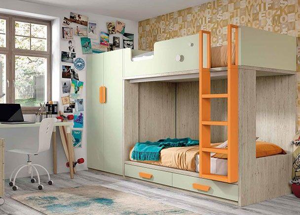 Habitaci n infantil con litera de dos camas con base de - Literas juveniles modernas ...