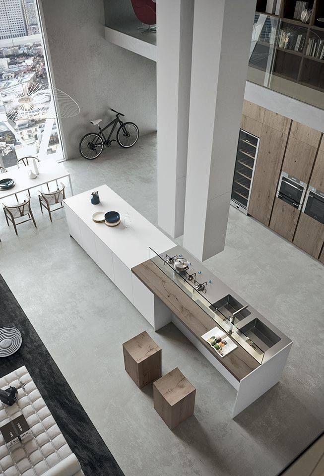 Cuisine moderne avec grand ilot central dans un loft Maison neuve - Cuisine Contemporaine Avec Ilot