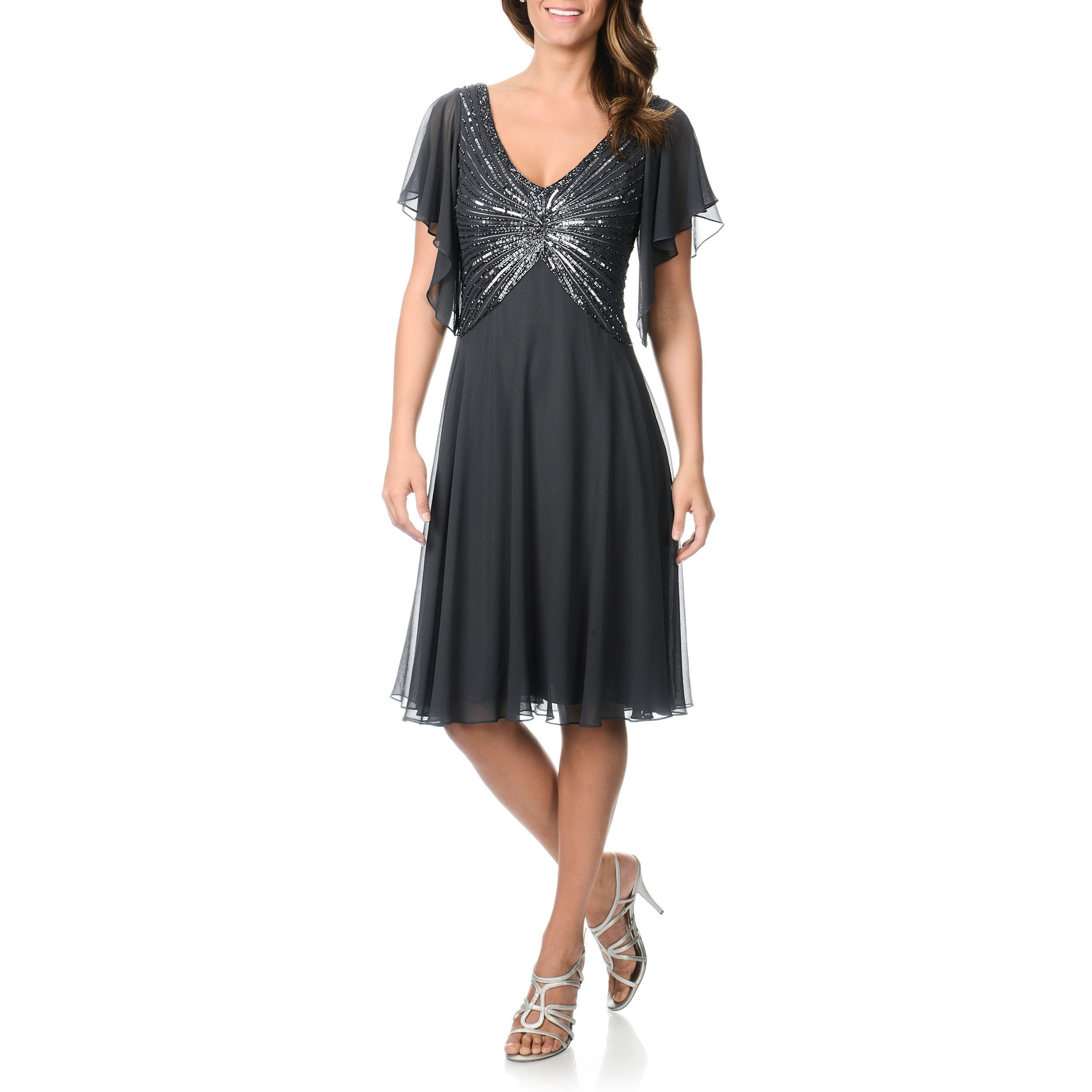 J laxmi womenus sequined flutter sleeve cocktail dress greygrey