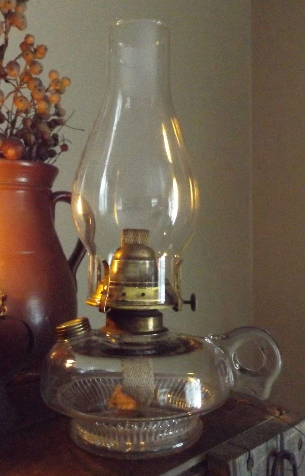 Antique Maine Farm Finger Oil Lamp W Brass Filler Cover E Miller
