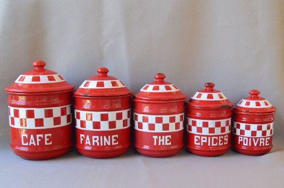 5 Français ancien émail pots contenants de rangement - rouge et