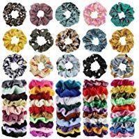 65Pcs Hair Scrunchies Velvet,Chiffon and Satin Ela