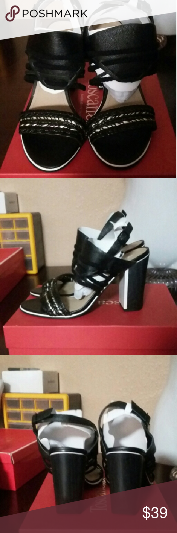 Kenneth Cole Reaction Black Leather Sandals 9 BRAND SPANKING NEW, comes with box pictured (not original) Kenneth Cole Reaction Black Leather Sandals 9. These are just beautiful! Retails  $79.00 Kenneth Cole Reaction Shoes Sandals