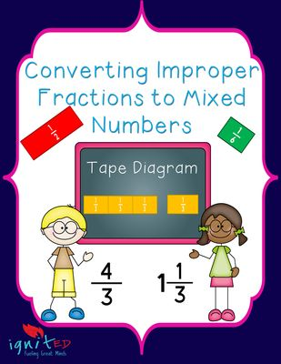 Tape Diagram Converting Improper Fractions To Mixed Numbers 3rd