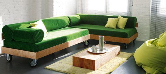 DIY Sofa - Eckcouch aus Kunstrasen Inspiring Ideas Pinterest - garten lounge mobel holz