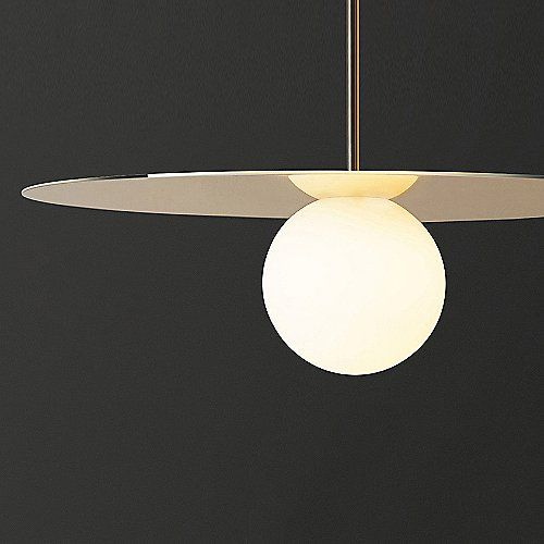 The Bola Disc Pendant By Pablo Designs Is A Striking Contemporary Fixture Featuring A Round Opaline Glass Diffuser That Appea Glass Diffuser Ceiling Lamp Lamp