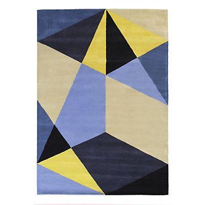 Tapis tufté main Déconstruction jaune en laine  Epaisseur: 10 mm - 3,5 kg/m²