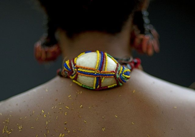 Details from the Shell adornment worn by a woman from the Trobriand island | Papua New Guinea. Shells have a great value in the papuan islands. There is still a big exchange system between the islands, made by traditional boats once a year. Shells can be used as traditional money in many places.