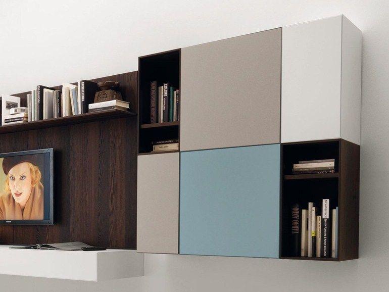 l ment mural ouvert en bois avec porte avec tag re cubodieci by euromobil salon. Black Bedroom Furniture Sets. Home Design Ideas