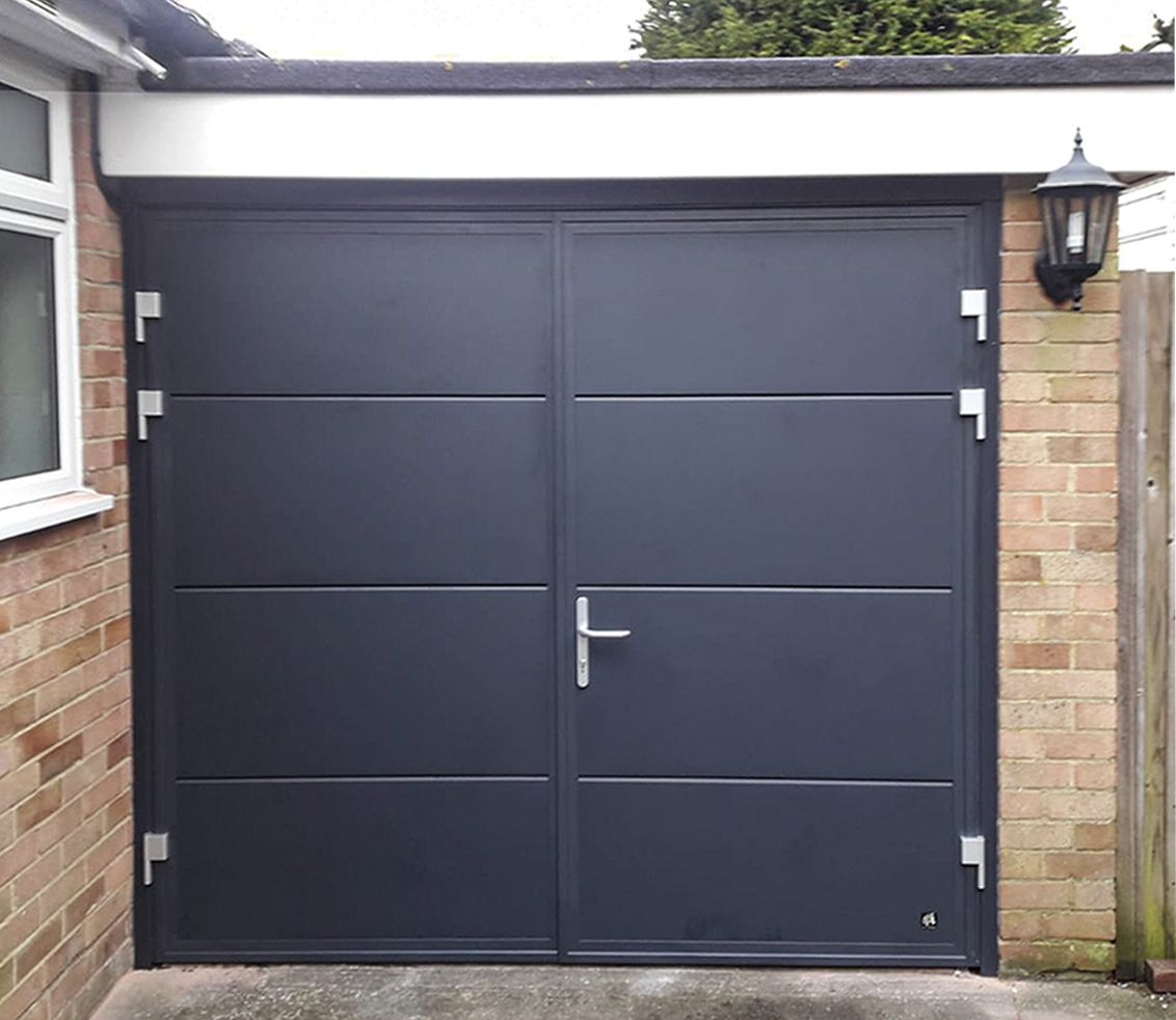 Ryterna Wide Horizontal Ribbed 50 50 Split Side Hinged Garage Doors Finished In Anthracite Grey In 2020 Side Hinged Garage Doors Garage Doors Doors