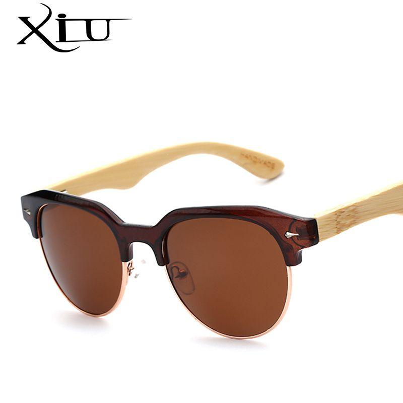 New Bamboo Glasses Flash Mirror Eyewear Wooden Bamboo Frame Sunglasses Casual