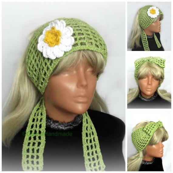 Crochet Summer Headband, Retro Headband,  Floral Crochet , Boho Hairband,Cotton Hair Snood,Wide…