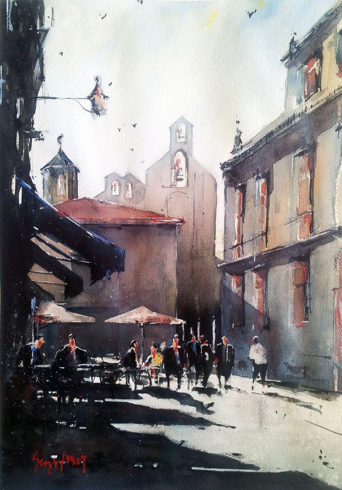 Watercolor art history - La Soledad_ Palencia Sergio Torre Watercolor