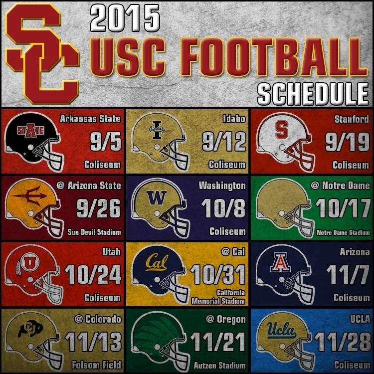 2015 Usc Trojans Football Schedule Usc Trojans Usc Football