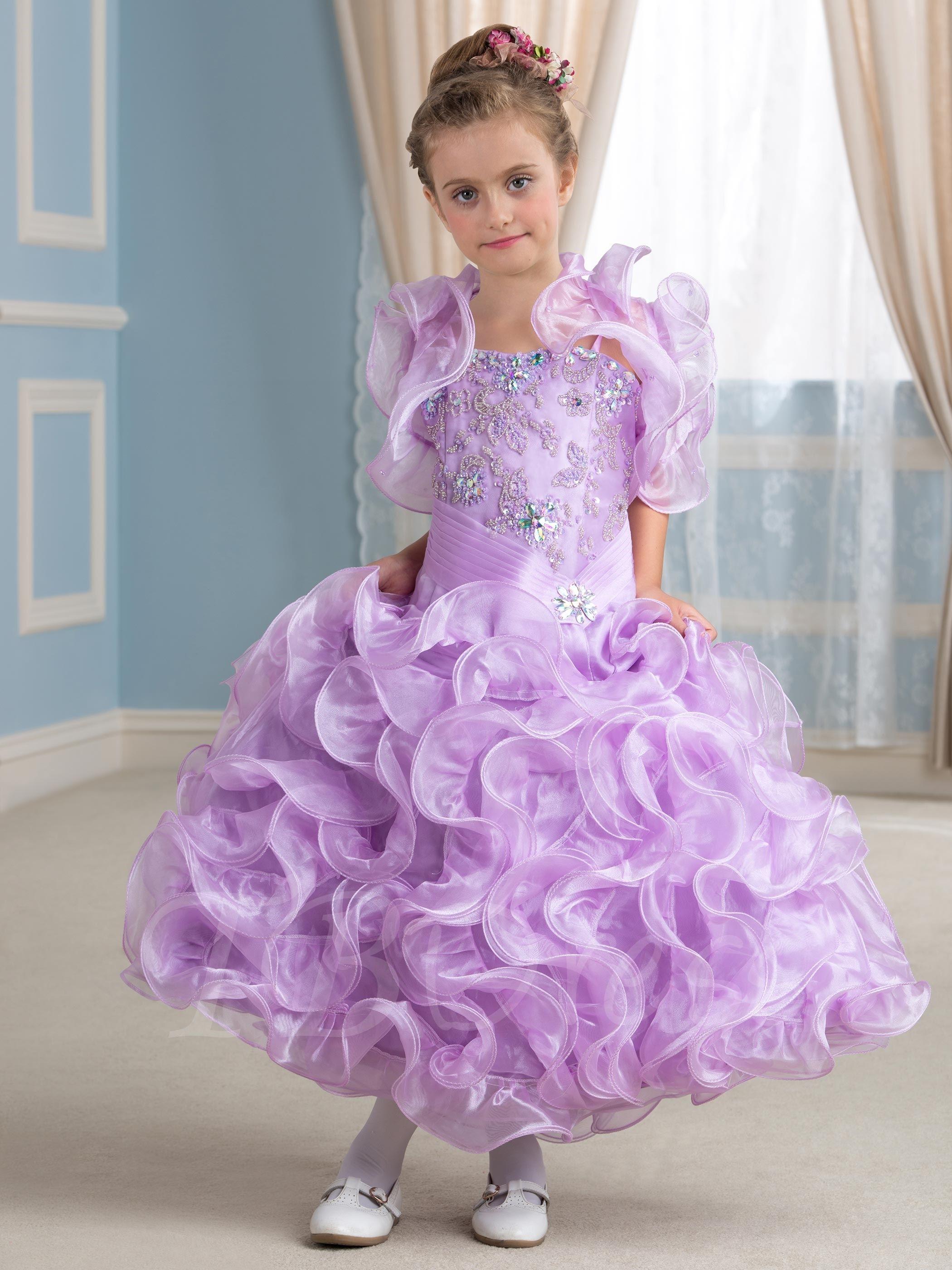 Ruffles Sequins Ball Gown Little Flower Girl Dress With Jacket