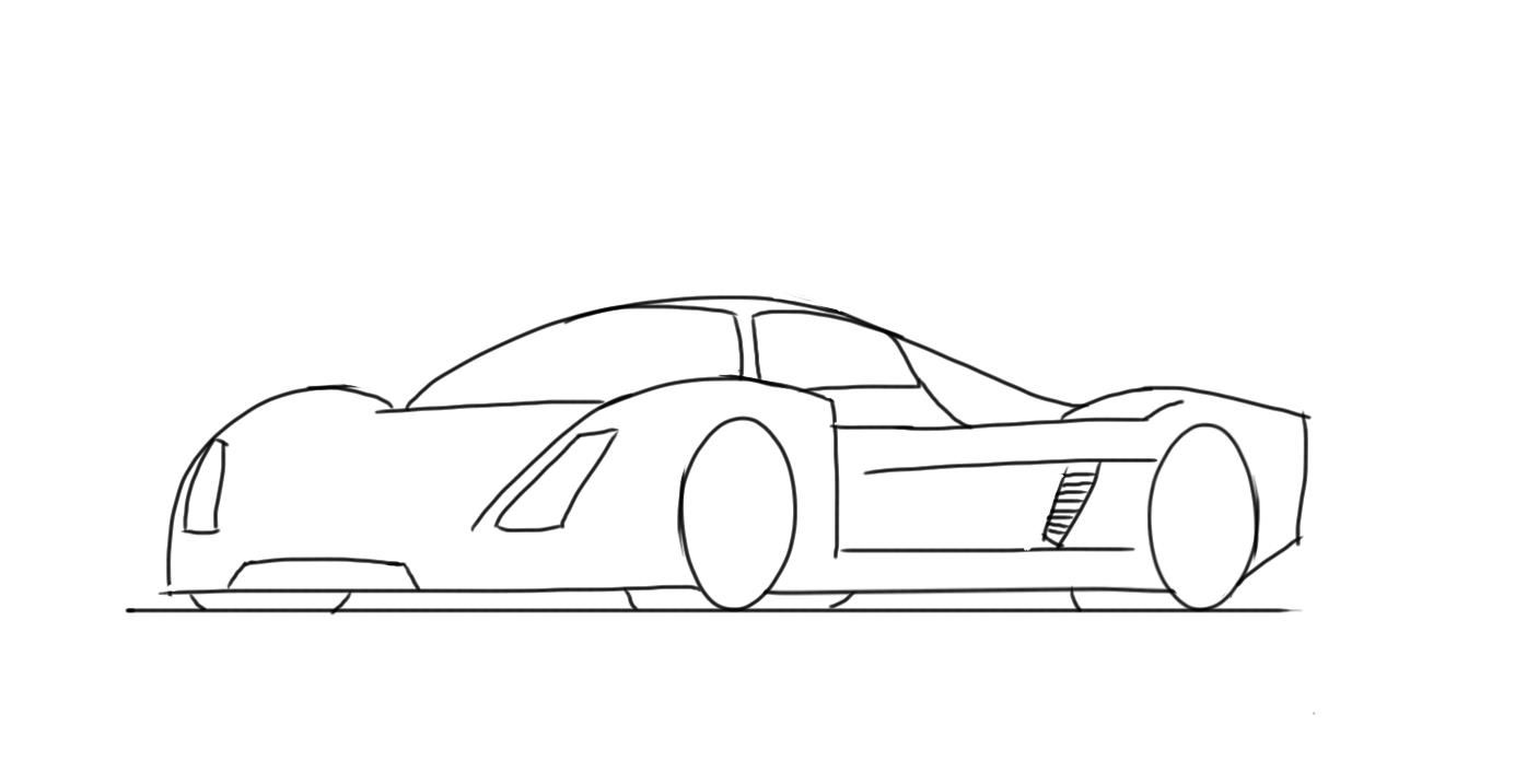 How To Draw A Race Car For Kids Le Mans Prototype With Images