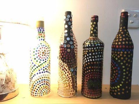 Diy Easy Bottle Decoration Using Cotton Swab And Acrylic Paint Youtube Bottles Decoration Bottles Decoration Diy Bottle Lamp