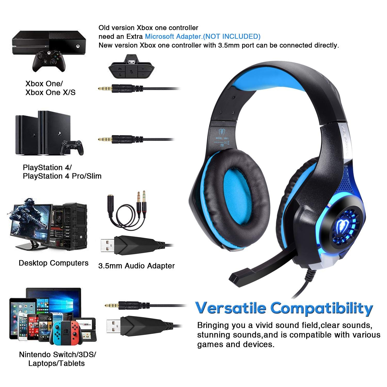 Bluefire Professional 3 5mm Ps4 Gaming Headset Headphone With Mic And Led Lights For Playstation 4 Xbox One Laptop Ps4 Gaming Headset Headset Gaming Headset