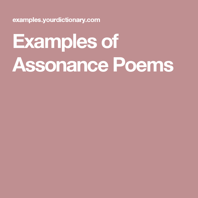 Examples of Assonance Poems | Poem and School