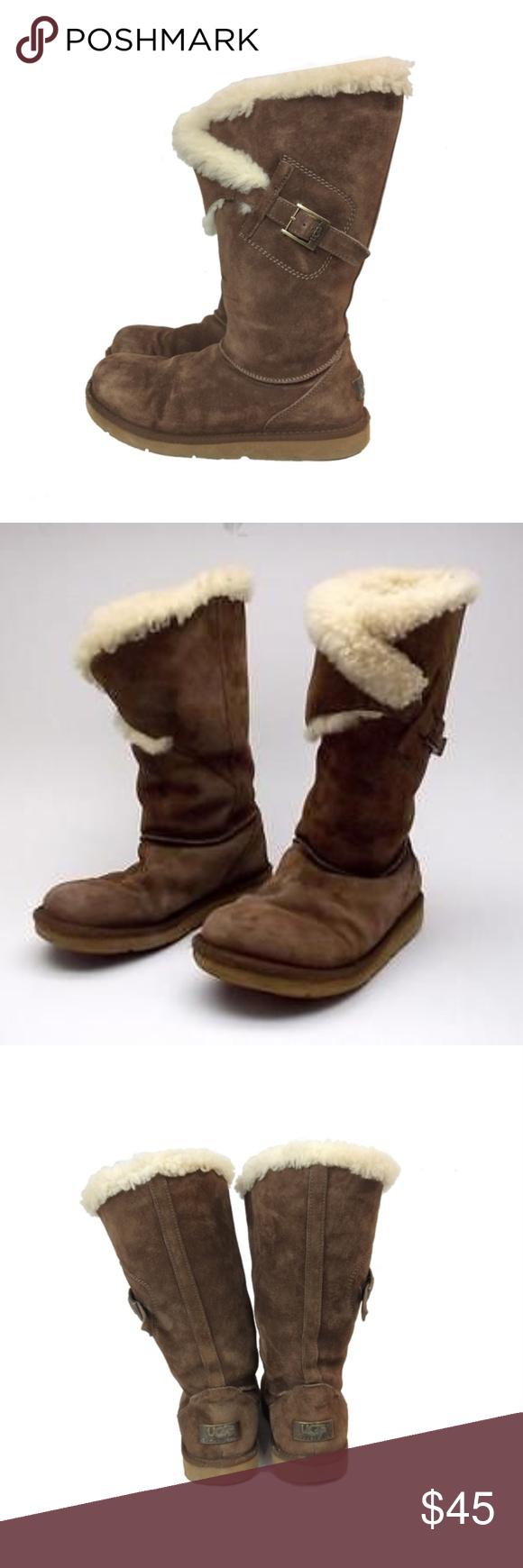 Ugg Suede Sheepskin Messenger Buckle Boots Pre Loved