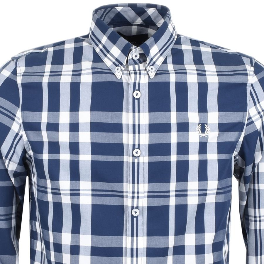 Fred Perry Long Sleeved Two Colour Check Shirt In Blue An Overall