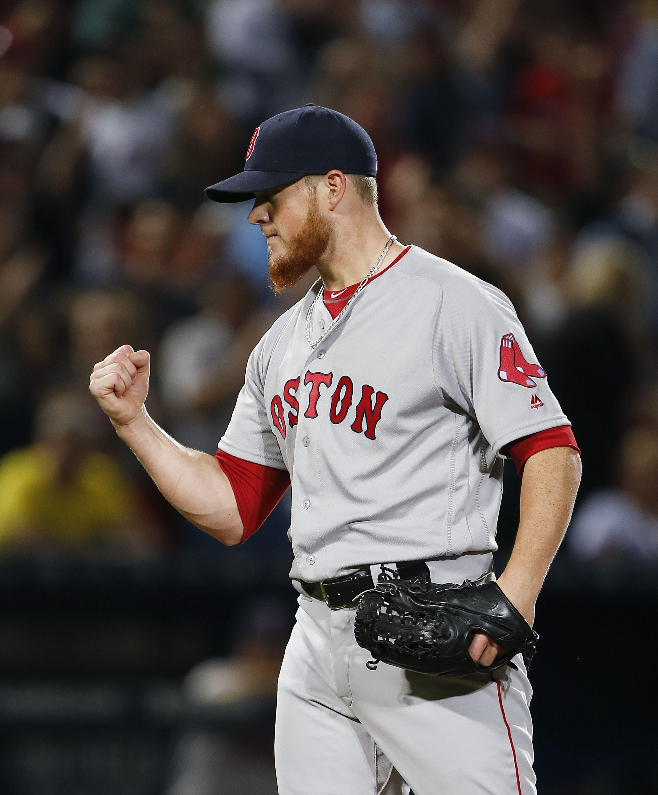 Boston Red Sox Relief Pitcher Craig Kimbrel 46 Reacts After Getting The Final Out In The Ninth Inning Of A Baseball Game Agains Red Sox Boston Red Sox Braves