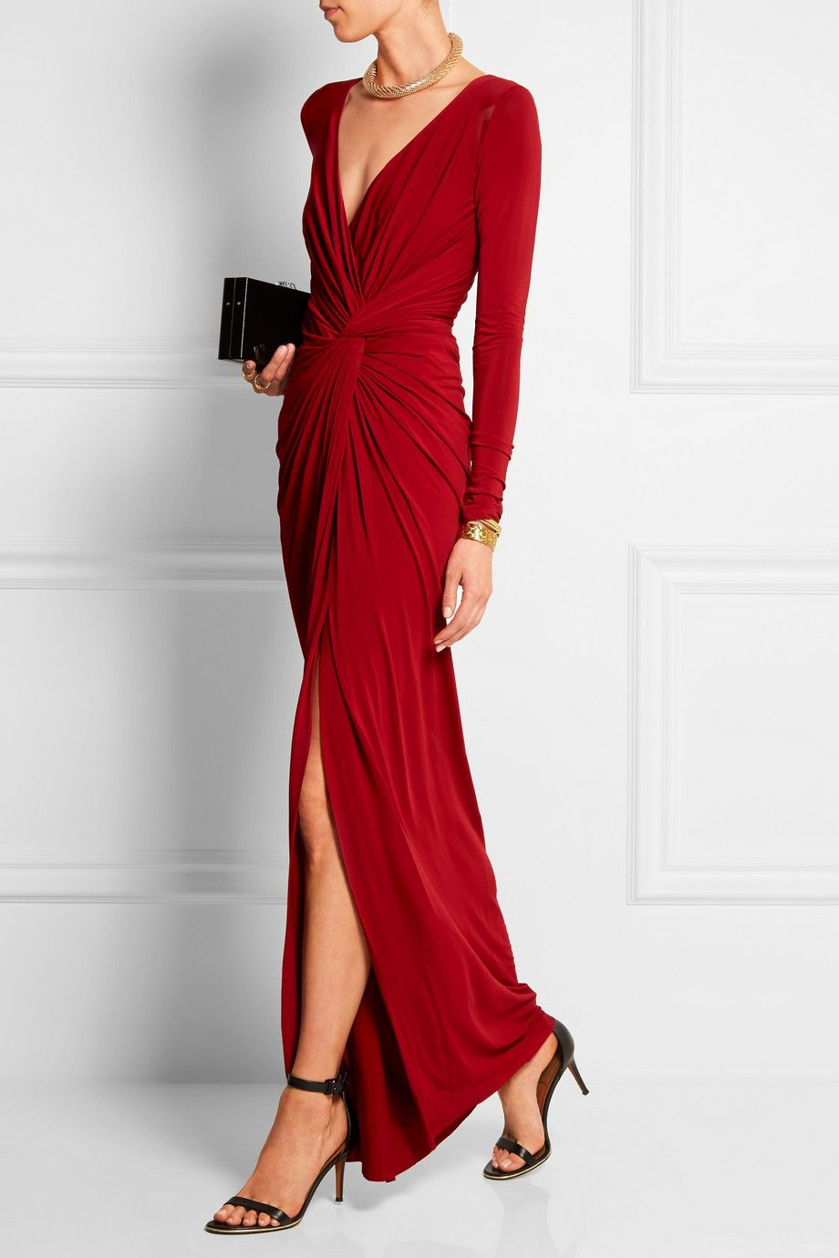Donna karan new york twistfront draped stretchjersey gown net