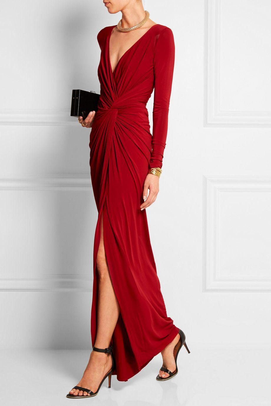 donna karan new york robe longue du soir en jersey. Black Bedroom Furniture Sets. Home Design Ideas