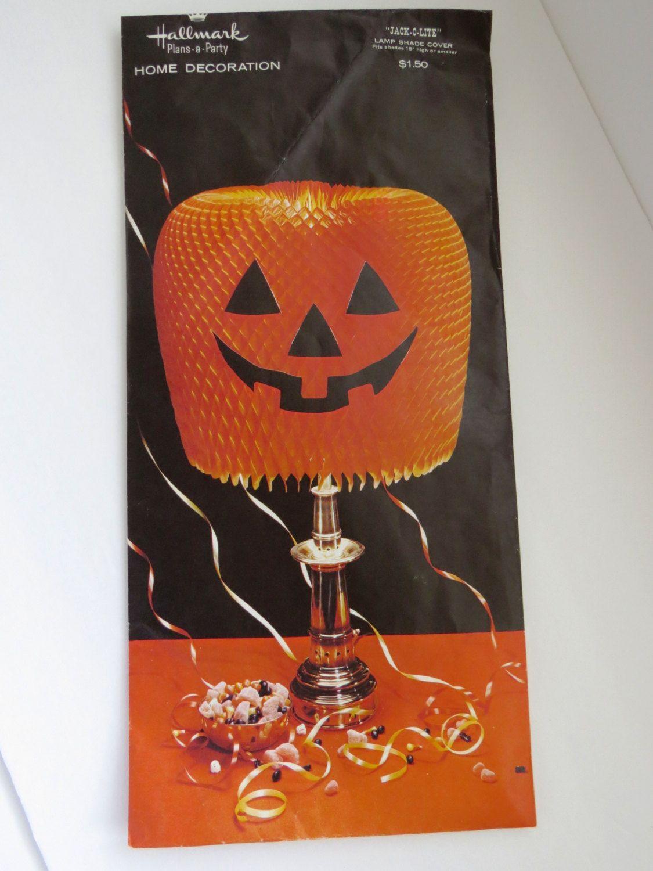 vintage jack o lanter lamp shade cover by hallmark orange honeycomb jol - Hallmark Halloween Decorations