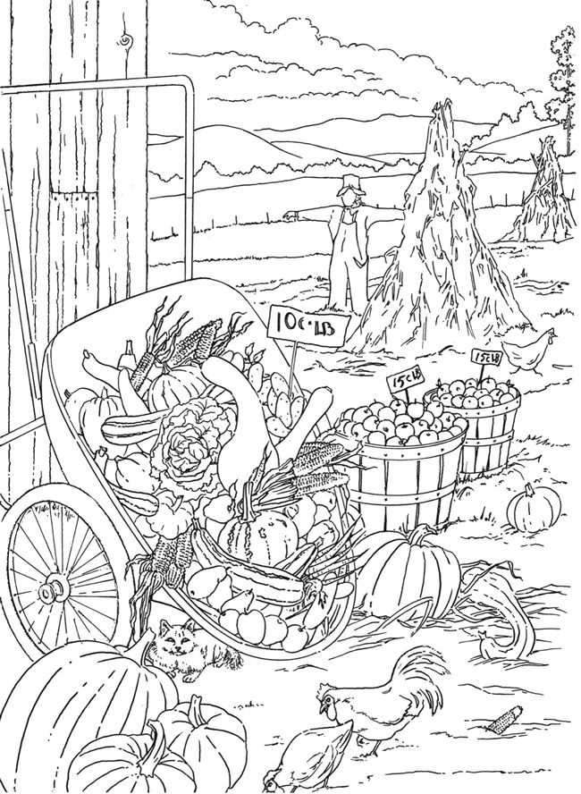 COUNTRY SCENES COLORING BOOK ▽ Coloring Page 2 ▽ Example ...