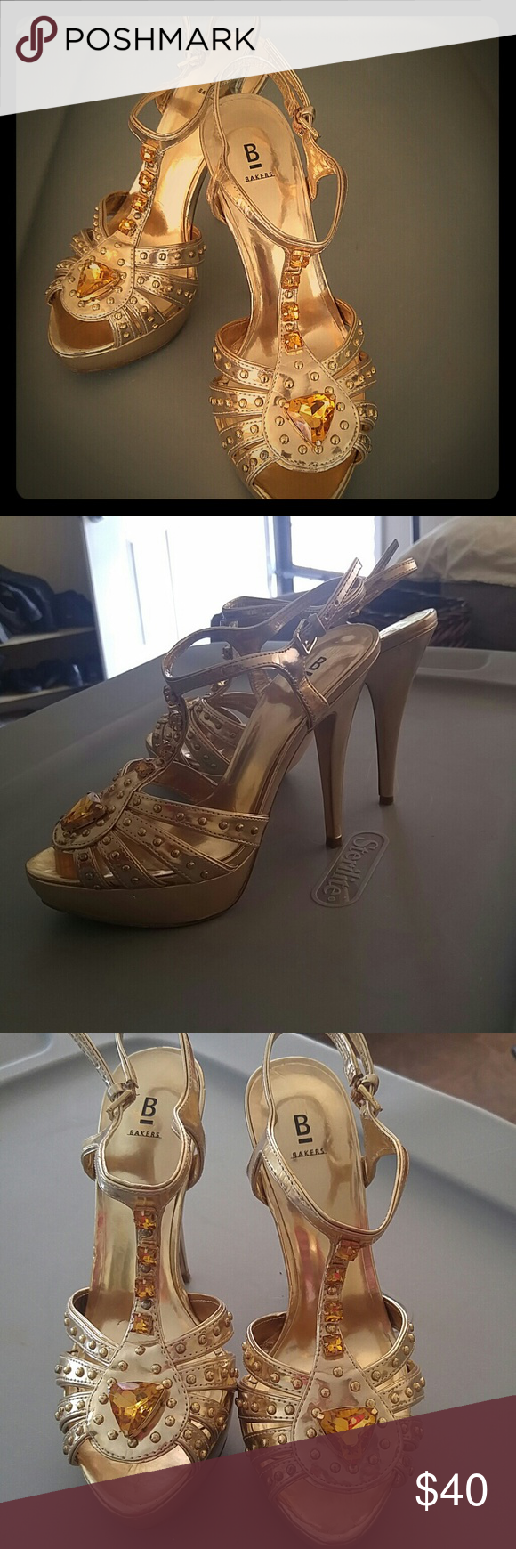 Gorgeous gold strappy platform pumps! Summery gold siletto pumps with gold bead embellishment, along with Amber/Corrine crystal accents. Thin buckle straps. Minimal scuff marks around bottom of shoe. Inside sole is spotless. Normal wear on bottom threads. Worn once for my high school prom! Great deal. Very good/like-new condition!! Bakers Shoes Heels