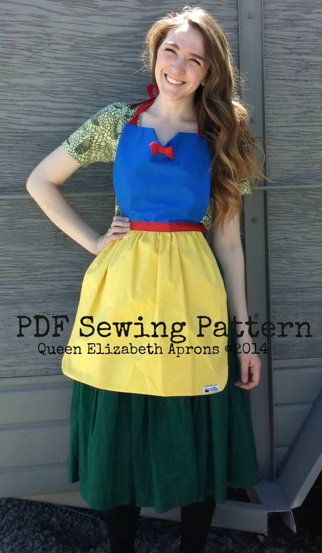 Snow white apron etsy - Adult Snow White Sewing Pattern Disney Princess Inspired Costume Apron Birthday Party Disneyland Dress