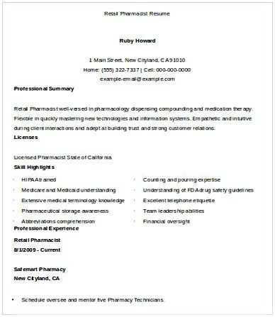 Pharmacist Resume Template Retail Pharmacist Resume  Resumes  Pinterest  Pharmacy