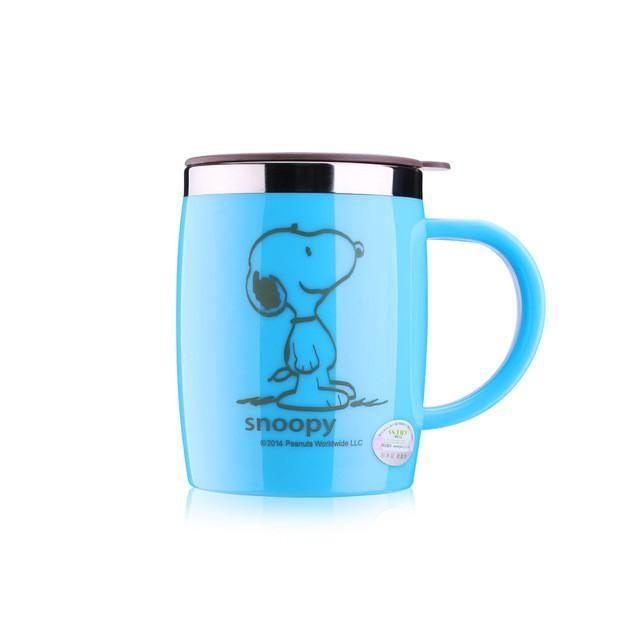 Snoopy 420ML Mug Coffee Cup Stainless Steel Milk Tea Mug Keep Mugs With Handle Anti-Dust Coffee Cups Seal Mass Tea Water Bottle