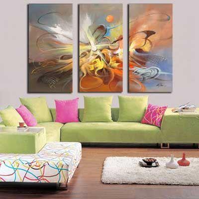 cuadros tripticos abstractos para sala cuadros