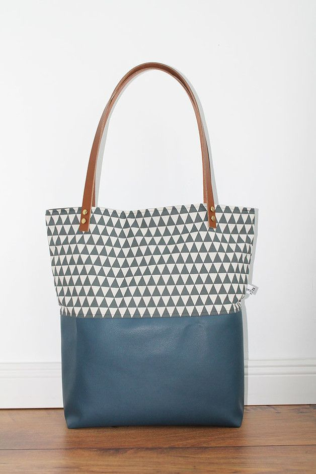 Blaue Tasche Blaue Canvas Tasche Mit Mustern / Blue Bag With Pattern By