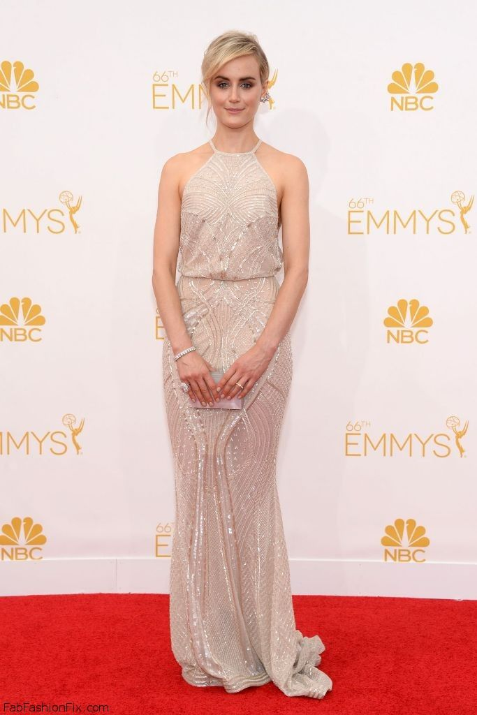 Taylor Schilling in Zuhair Murad dress at 2014 Emmy Awards.