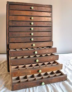 Delightful Vintage Printers Drawer Cabinet For Jewelry