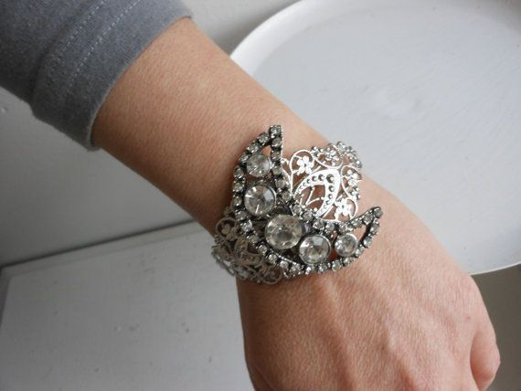 Moon shaped rhinestone cuff bracelet vintage by 2007musarra, $42.99