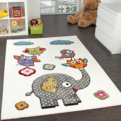 Tapis Chambre d\u0027Enfant Adorable Monde Animal Eléphant et Amis Crème