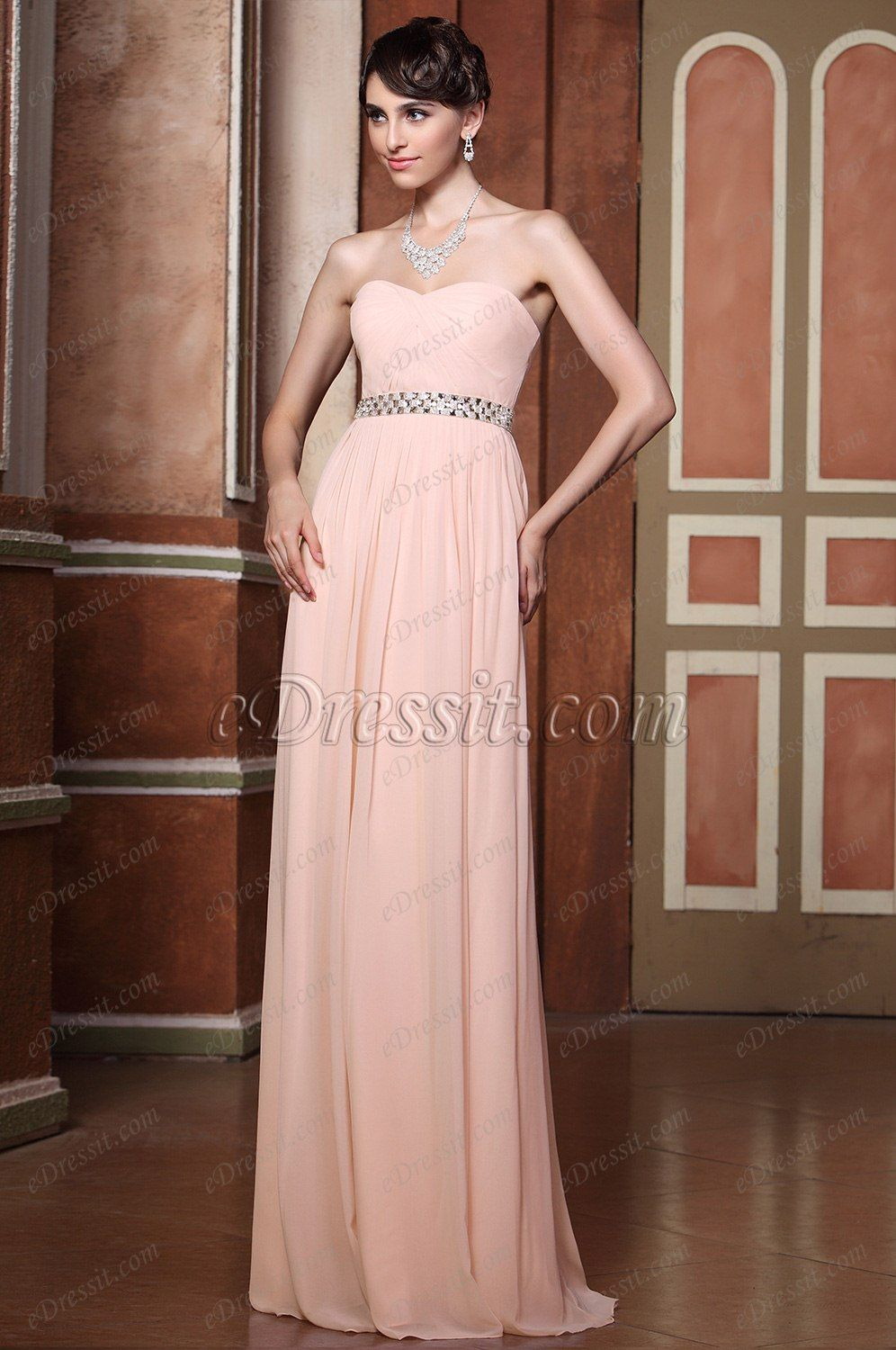 Simple Strapless Sweetheart Neck Pleated Evening Gown Bridesmaid ...