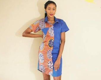 SALE 50% OFF  African Print Detailed Denim Shirt Dress #africanprintdresses