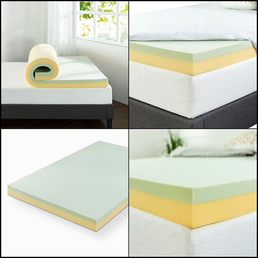 4 green tea memory foam mattress topper twin high quality w green